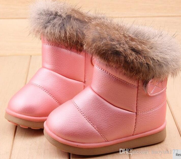Acheter Mode Hiver Enfants Filles Bottes De Neige Chaussures Chaudes En  Peluche Fond Mou Bébé Filles Bottes En Cuir Hiver Neige Botte Pour Bébé De   10.06 Du ... c6a3ae9172d6