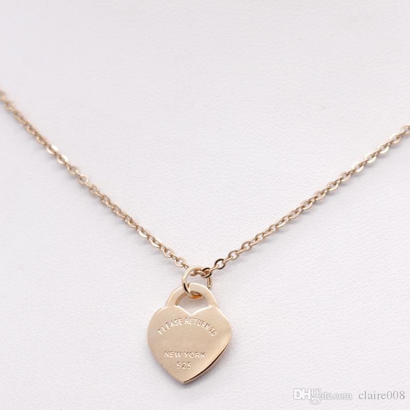 Collar en forma de corazón de acero inoxidable Collar T Collar corto de joyería femenina Oro 18k Collar de corazón de melocotón en titanio colgante para hombre