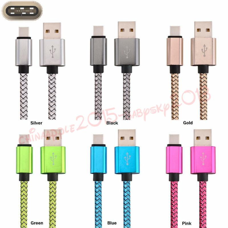 1m 2m 3m Aluminum Alloy Fabric Type C Usb charging Cable for samsung galaxy s4 s6 s7 note 2 4 mp3
