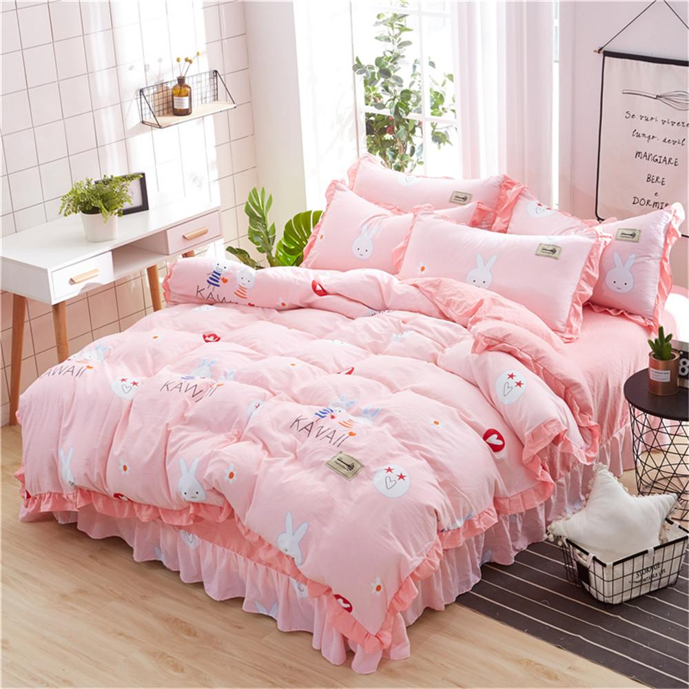 Pink Rabbit Kawaii Bedding Set Kids/Adult/Girl Bed Sheet Twin Full Queen  King Size Pillowcase Duvet Cover Bed Line Home Texile Queen Size Duvet  Cheap Duvet ...