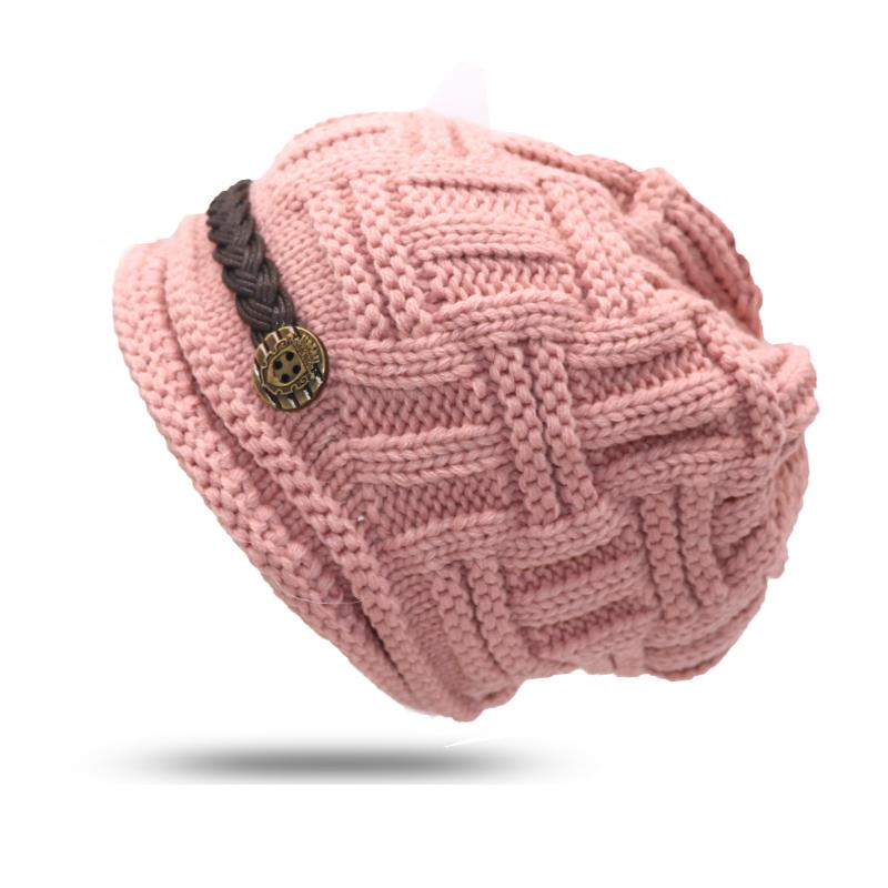 Women s Hats Winter Female Autumn Fashion Thermal Knitted Winter Hat Female  Ear Women s Knitted Hats Girls Caps Beanie Gorros Knit Cap Slouch Beanie  From ... ff4954b9ec1