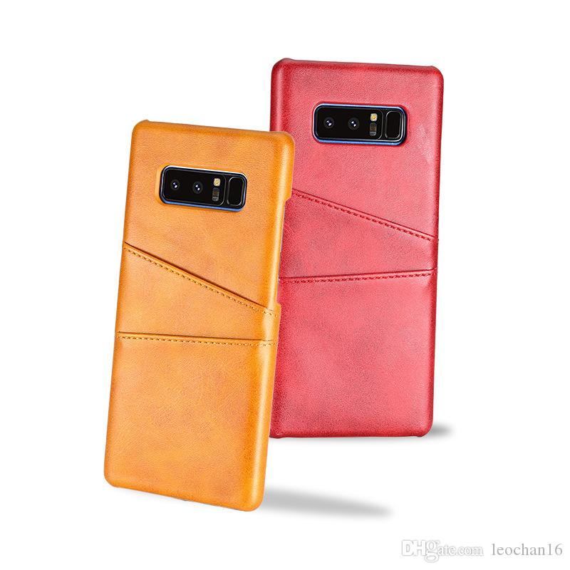 Simple Style Business Leather Holster Phone Case Dual Card Slots Pocket Money Back Cover Shell for iPhone Samsung Cellphone