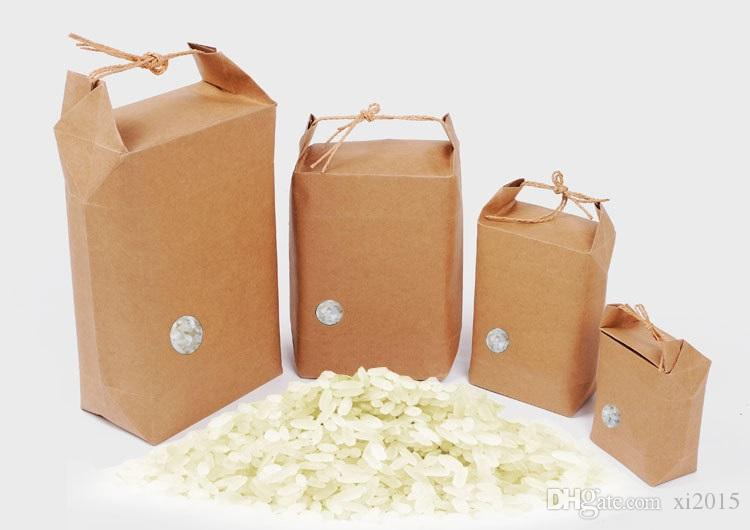 Kraft Paper Rice Bag Stand Gift Bags Food Cookies Walnut Dry Fruit Tea Package Box with Handle wen6697