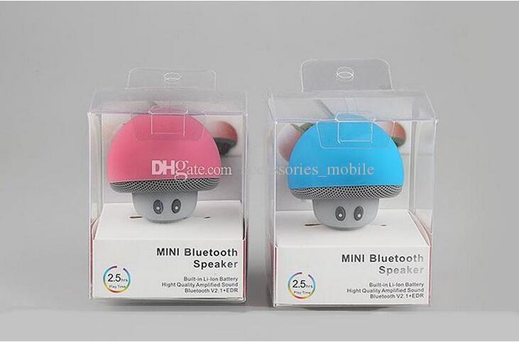 Nouveau type de bande dessinée Mashroom Mini Bluetooth Haut-parleur Portable Extérieur Subwoofers Haut Parleur Pour iphone tablette pc avec support et ventouse
