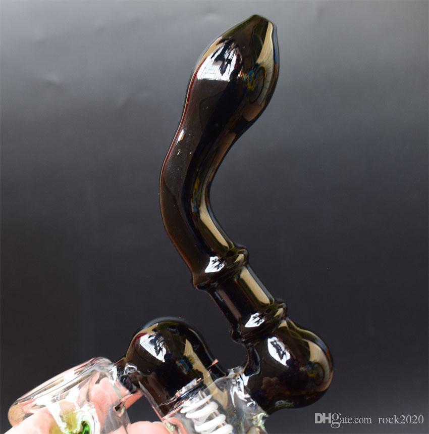 DHL New Black pipes en verre Bubbler Glass pipes pipes à eau Bangs en verre Recycler Pipes EN STOCK