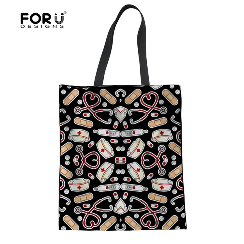 3530033e49 FORUDESIGNS Eco Friendly Shopper Bags Women Black Nurse Lover Canvas Reusable  Women S Tote Bags Handbag Foldable Shopping Handbags On Sale Jute Bags From  ...