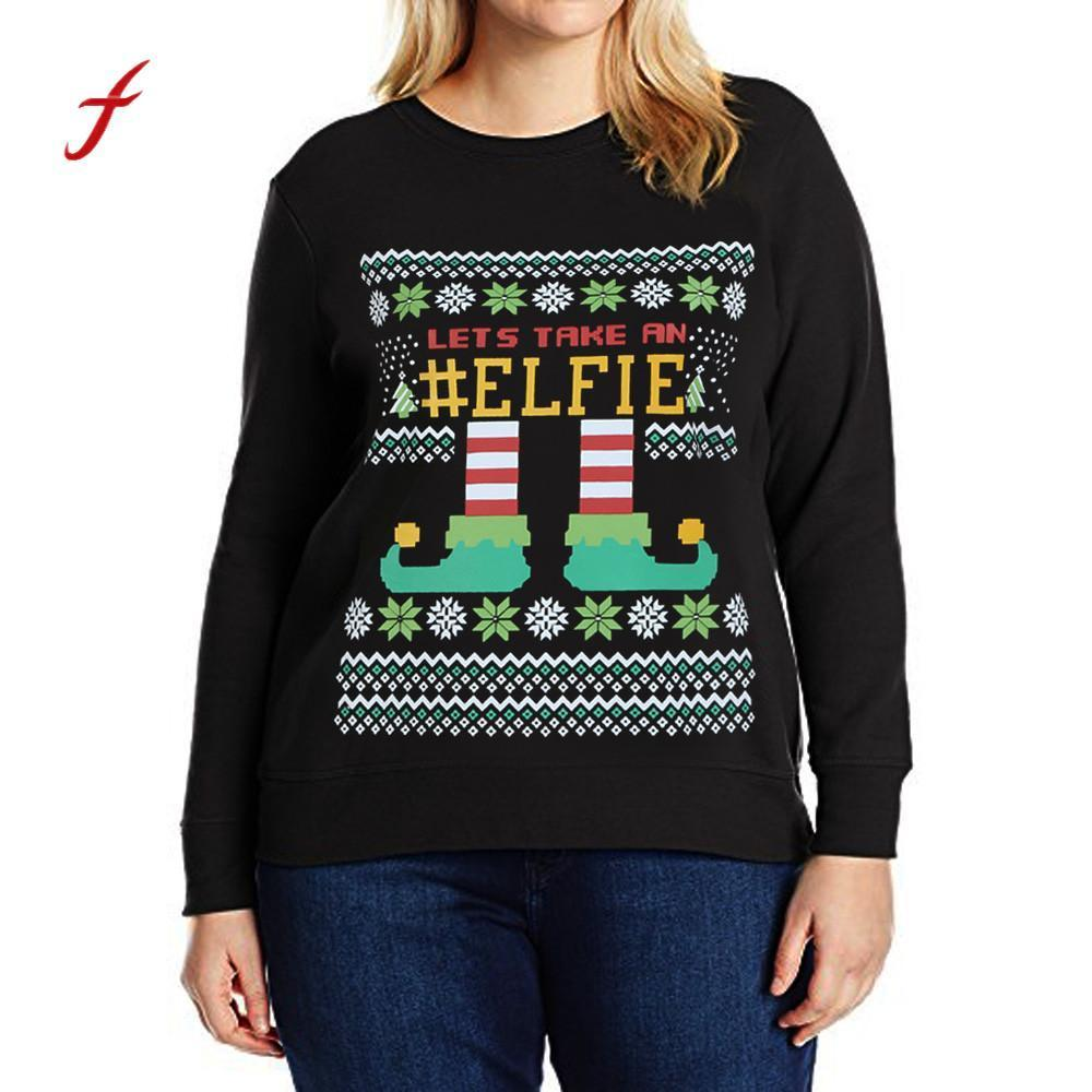 5c60558166ceb 2019 Feitong Casual Brand New tracksuit for women Jumper Pullover Plus Size  Print Letters Christmas Sweatshirt Blouse Tops Clothing