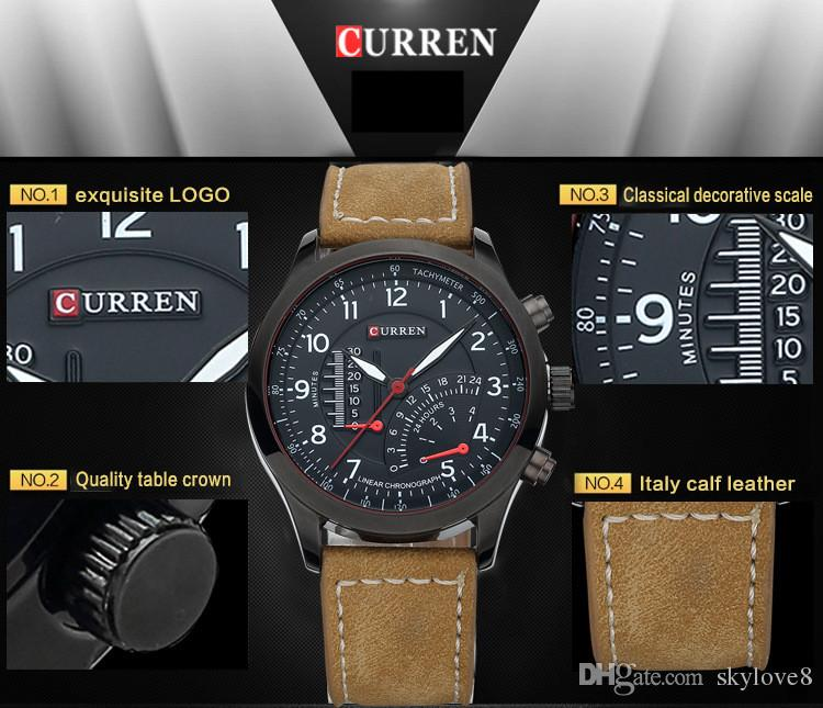 New Model CURREN 8152 Mens Watches Brand Luxury Clock Male Leather Strap three Dial Military Waterproof Wristwatch Sport Quartz Thin Watch