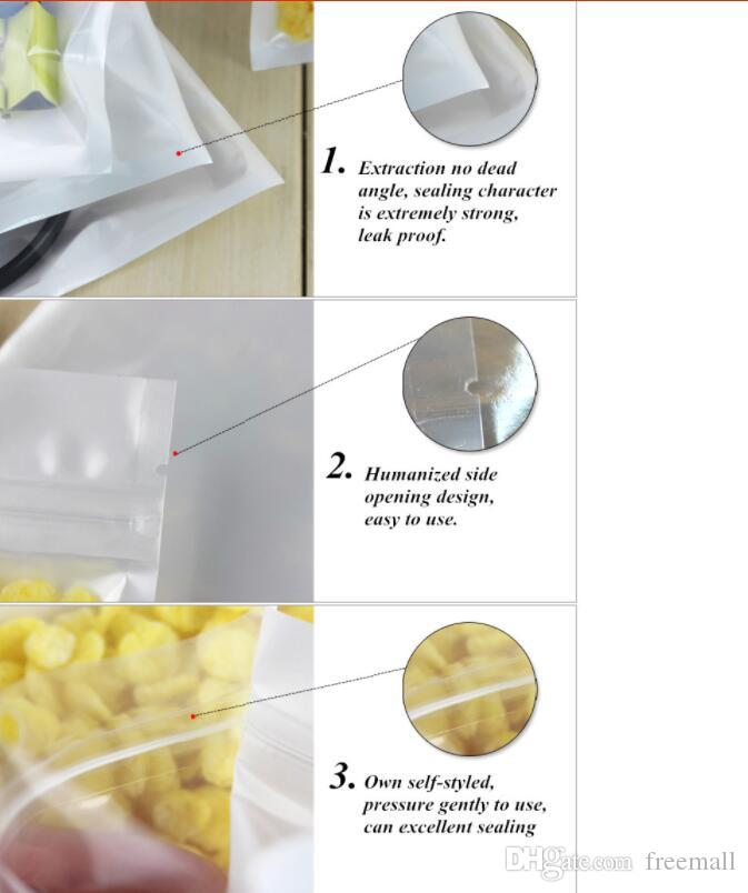 Clear + white pearl Plastic Poly OPP packing zipper Zip lock Retail Packages Jewelry food PVC plastic bag
