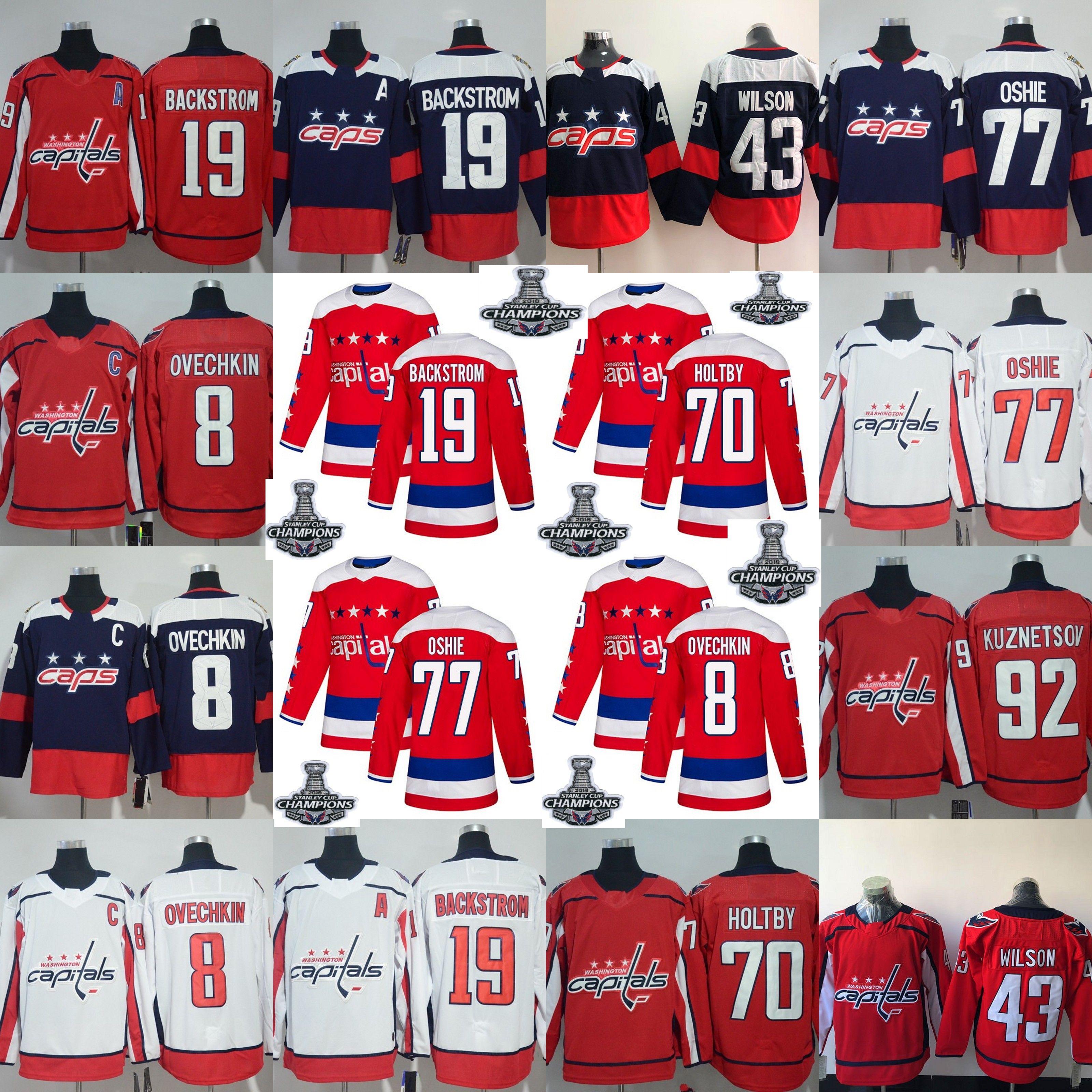reputable site 378c9 69dd8 men youth women 2018 Stanley Cup Champions Capitals Alex Ovechkin Tom  Wilson T.J. Oshie Nicklas Backstrom Braden Holtby Kuznetsov Jerseys