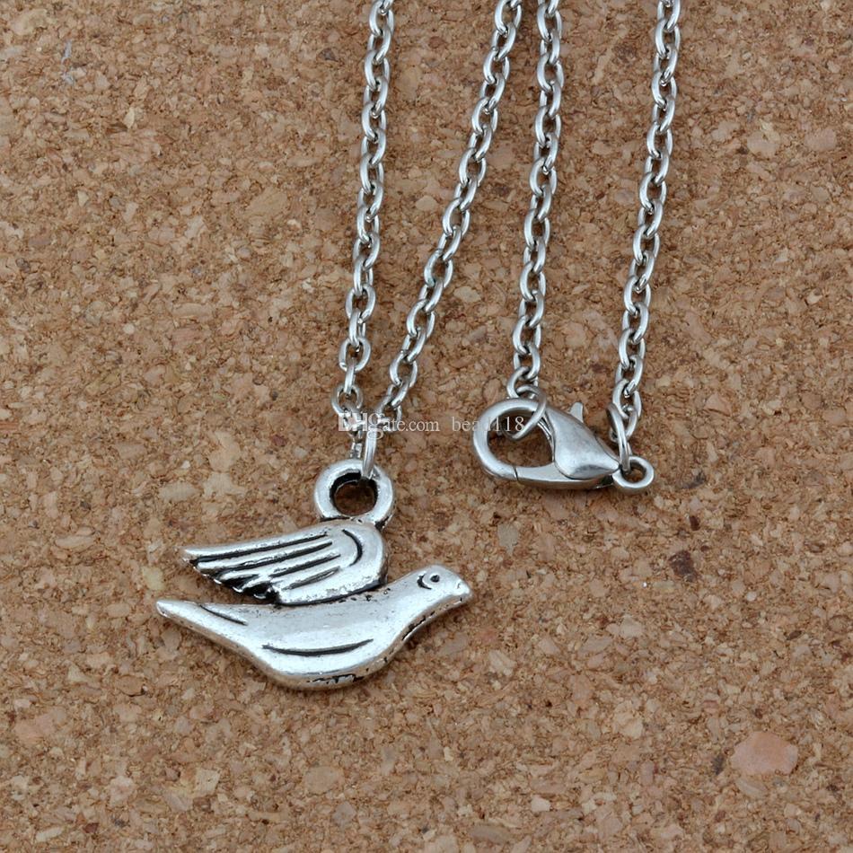 20 pçs / lote antiga liga de prata paz pomba encantos pingente colares 18 polegadas cadeias de jóias diy a-255d