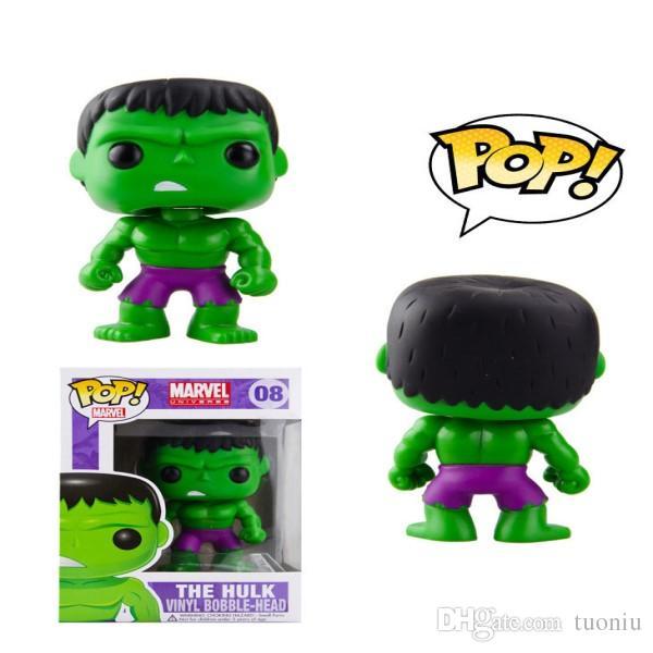 Funko POP The Avengers Movies Hulk capitán America Batman Thor Iron Man figura de acción con la caja original Buena calidad dobby Doll toys