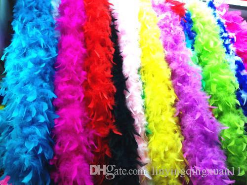 2 yardas / lote Accesorios de Ropa Pavo Pluma Multi Color Strip Fluffy Boa Happy Birthday Party Decoraciones de Boda Suministros