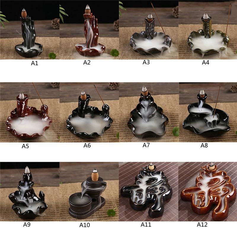 Wholesale- 12 Types Ceramic Incense Burner Back Flow Lotus Stick  Aromatherapy Stove Zen Meditation Necessity Chinese Style Crafts WA495