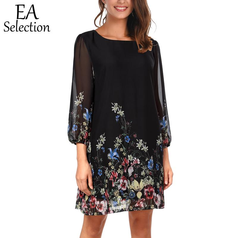 86be4f1ac6d 2019 EA Selection Boho Flowy Chiffon Dress For Women Summer Dresses Plus  Size Casual Round Neck Straight Loose Beach Dress From Honjiao