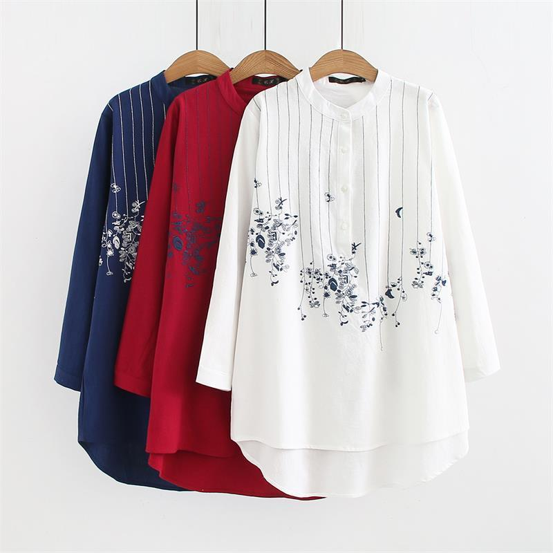 2018 Plus Size Mandarin Collar Long Sleeve Blouses Women 2018 Embroidered  Red   White   Dark Blue Shirt Spring   Autumn Ladies Tops D18103104 From  Tai01 1b4271460192