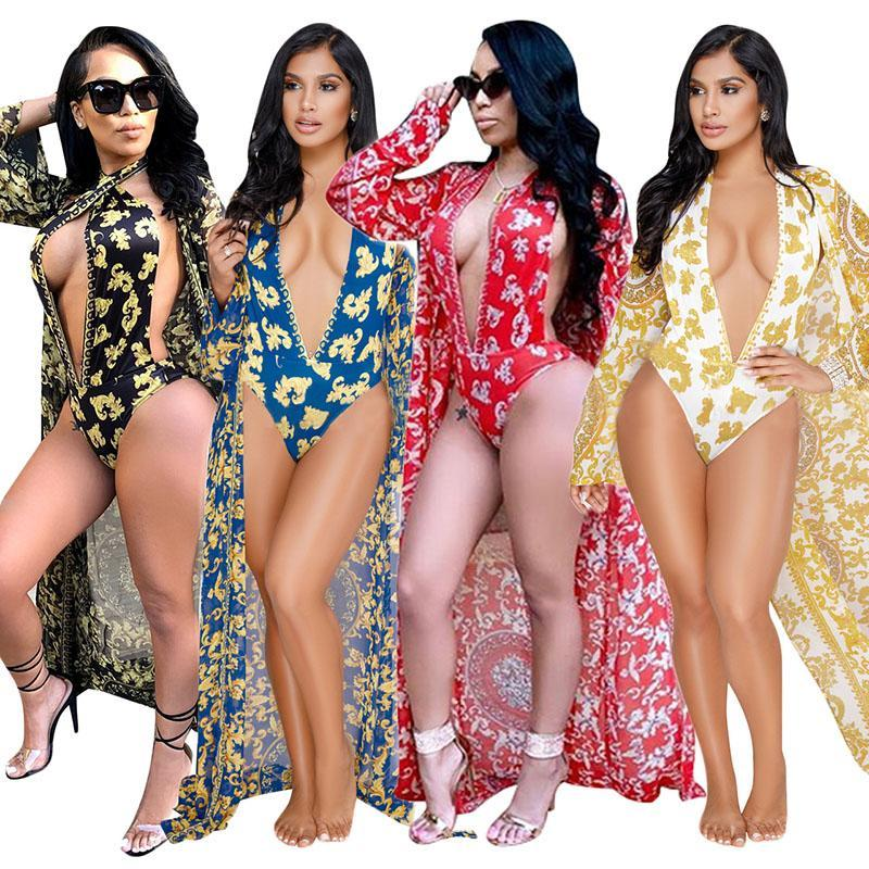 45006cb500f 2019 2018 Sexy Print Bikini Set Chiffon Plus Size Boyfriend Style Swimwear  Beach Blouse Women Bathing Suit + Long Sleeve Beach Cover Up From ...
