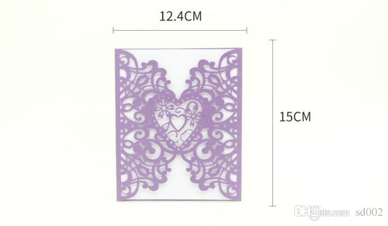 Five Colors Wedding Invitations Hollowed Out Design Heart Shaped Greeting Card Exquisite Paper Blessing Cards For Valentine Day 1 45ym B