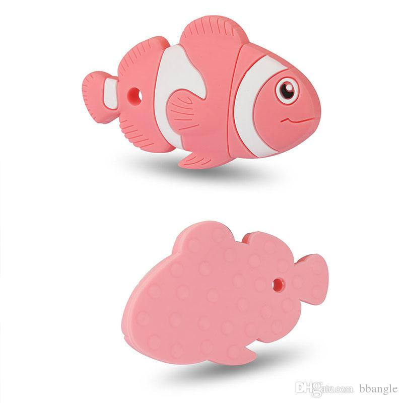 Fish Teether Silicone Teething Toys for Baby Fish Shaped Chewing Beads Pacifier Pendant Necklace Soother Nursing Chewable Accessories