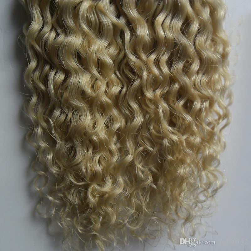 613 Lixívia Loira Fita Em Nenhum Remy Extensão Do Cabelo Humano Adesiva 100g mongol kinky curly Hair / Set Cabelo Trama Da Pele