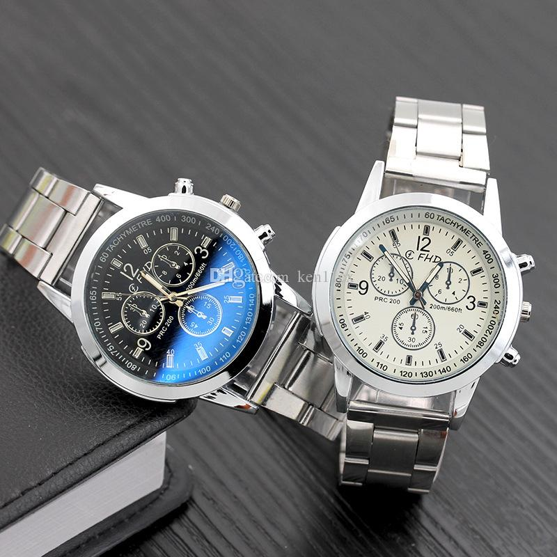 Business Mens Watches Casual Luxury Steel strap Men Blue Ray Glass Quartz Watch Fashion Cool Clock Relogio Masculino