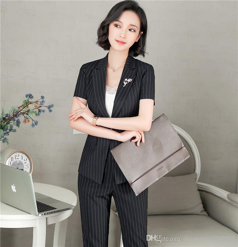 d3aaa947165179 Großhandel 2018 Neue Mode Frauen Business Hose Anzüge Formale Büroarbeit Plus  Größe Dünne Kurzhülse Blazer Und Hosenhose Streifen Set Von  Donnatang240965