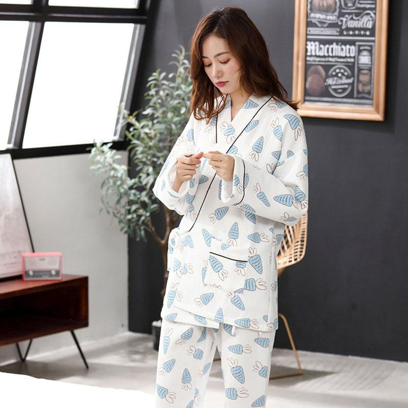0031a1de9e31e Acheter   Set Coton Enceinte Vêtements D allaitement Hiver Pyjama  D allaitement Pyjama D allaitement Grossesse Grossesse Chemise Imprimée  Ensembles De ...