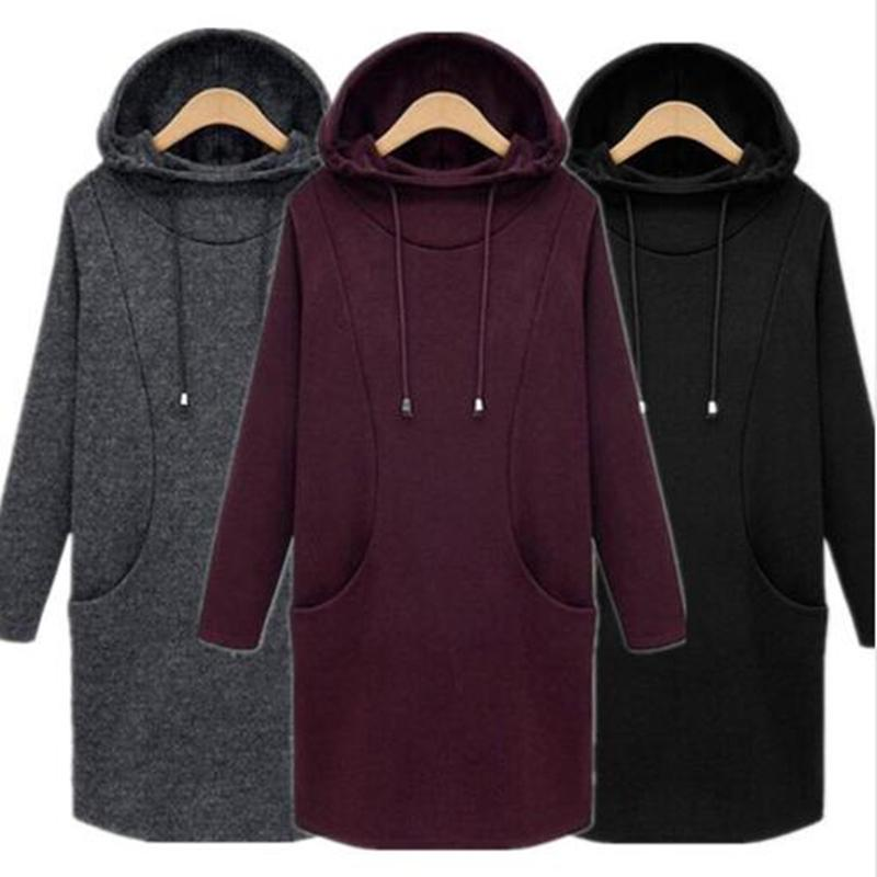 2017 Autumn Women Hooded Hoodies Sweatshirt Plus Size XS- 5XL 6XL Casual Loose Ladies Bodycon Hoody Pullover Tunic Winter Cloth