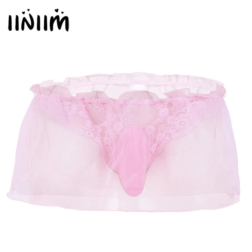 574ae3d8850b iiniim Mens Lace Wet Look Pouch Thongs Briefs Lace Bikini Underwear  G-Strings & Thongs