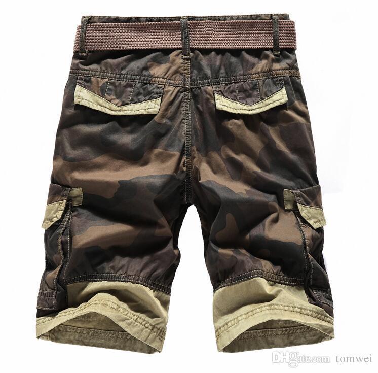 Shorts de Verão Mens Carga Shorts Camuflagem Na Altura Do Joelho Cinto 100% Algodão Shorts Grandes 2018 Roupas de Marca JOOBOX Mais Novo