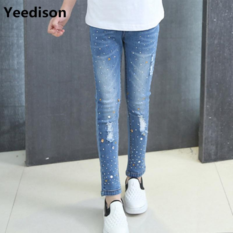 b6e9cb2d466 Girls Jeans 2018 Plus Size Baby Girls Pants Slim Skinny Kids Leggings  Cotton Casual Children Clothes 6 8 10 12 14 Year Boys Jeans Cheap Jeans For  Kid From ...