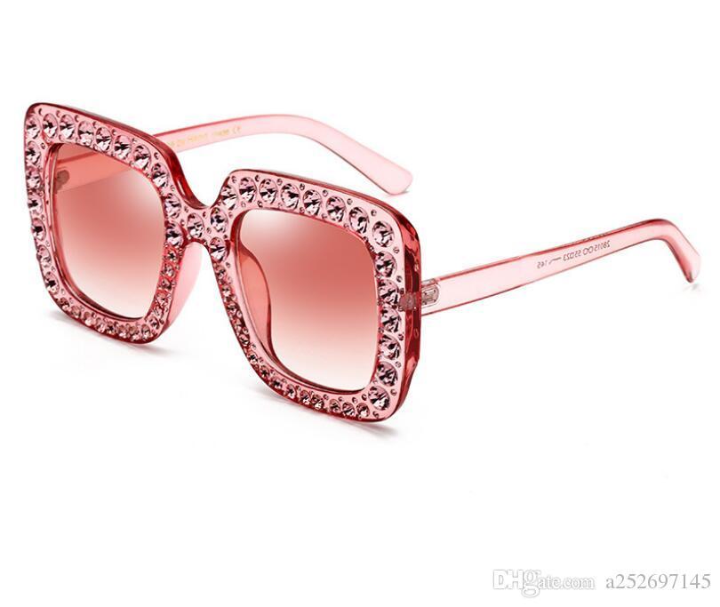 77e229eabe0 2018 Luxury Square Sunglasses Women Italy Brand Designer Diamond Sun Glasses  Ladies Vintage Oversized Shades Female Goggle Eyewear Cheap Eyeglasses ...