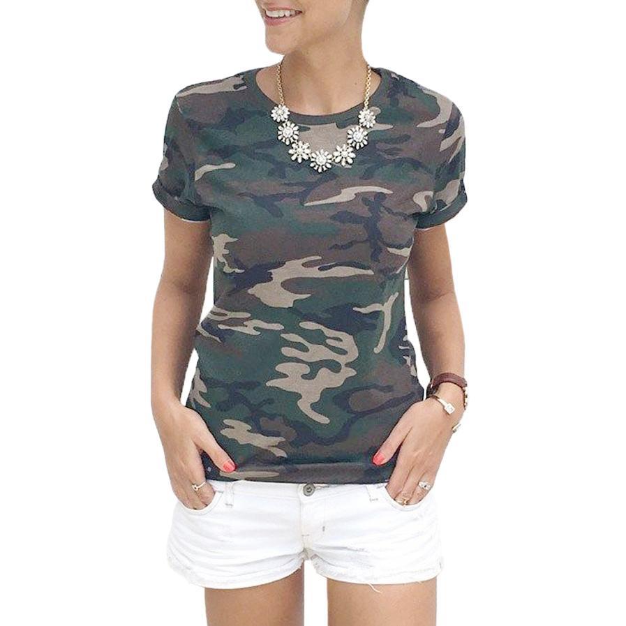 Fashion T Shirt Female Blusa Tumblr Camouflage Prints Tops Short