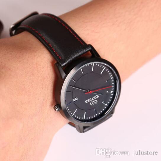 9314652440e2 Compre Marca De Moda Casual Reloj Para Hombre Negro Correa De Cuero  Impermeable Relojes De Cuarzo Relojes De Pulsera De Negocios Calendario  Reloj Masculino ...