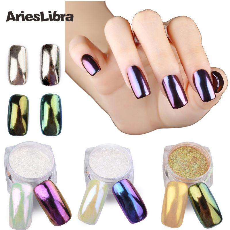 Nails Art & Werkzeuge Gold Champagner Silber Spiegel Nagel Pulver Shimmer Nagel Staub Maniküre Nail Art Chrom Pigment