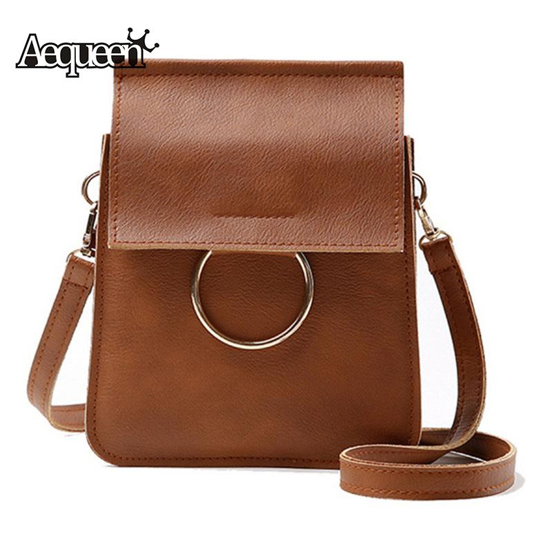 28162bb1d551 AEQUEEN Ring Crossbody Bag For Women Shoulder Bags PU Leather Lady Small  Flap Vintage Sling Bags Solid Mini Bolsa Feminina Brown Crossbody Bags for  Women ...