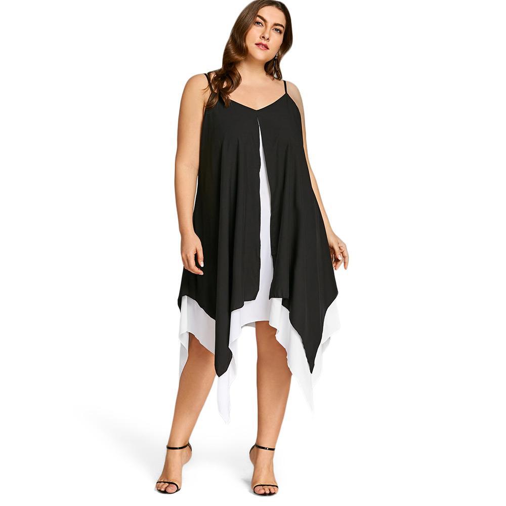 Wipalo Plus Size Handkerchief Hem Flyaway Dress Women Summer Chiffon ...