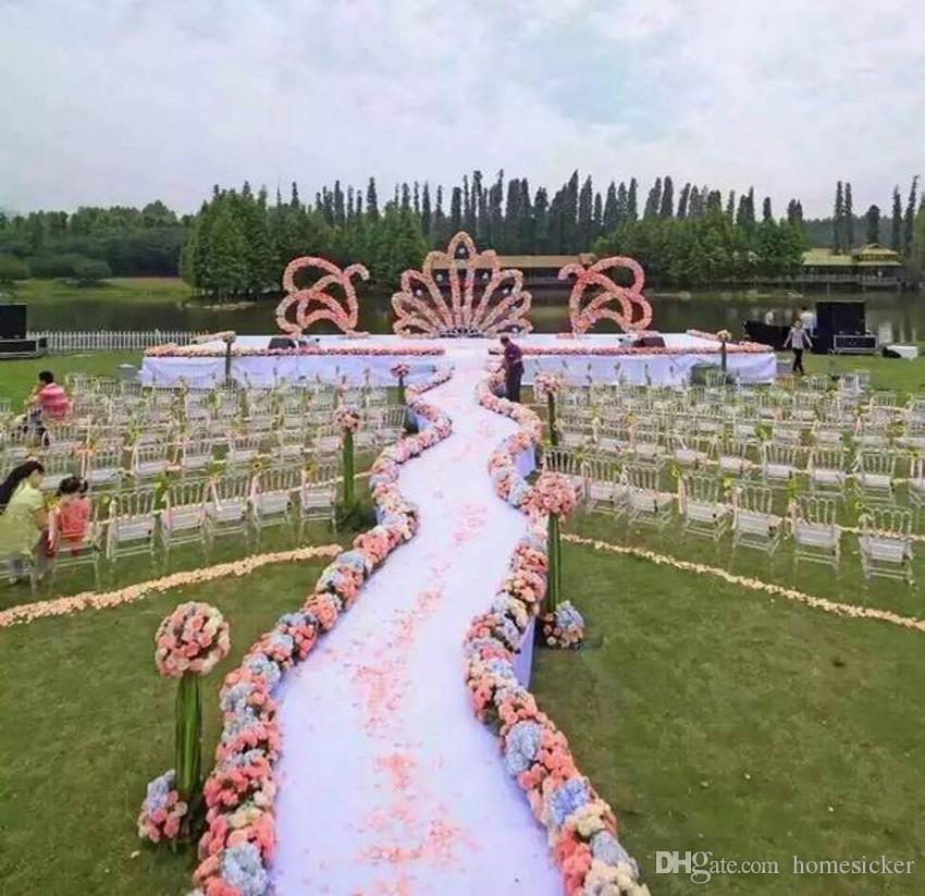 Wedding silk flower row arrangement artificial hydrangea rose flower arche row cappuccino background t-station road flower decor