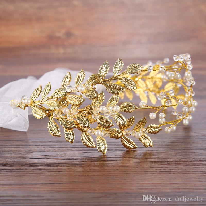 European Crystal Pearl Bridal Hairbands Wedding Veil Headbands Tiaras Women Gold Leaf Hair Band Headwear Girl Bridesmaid Hair Accessories