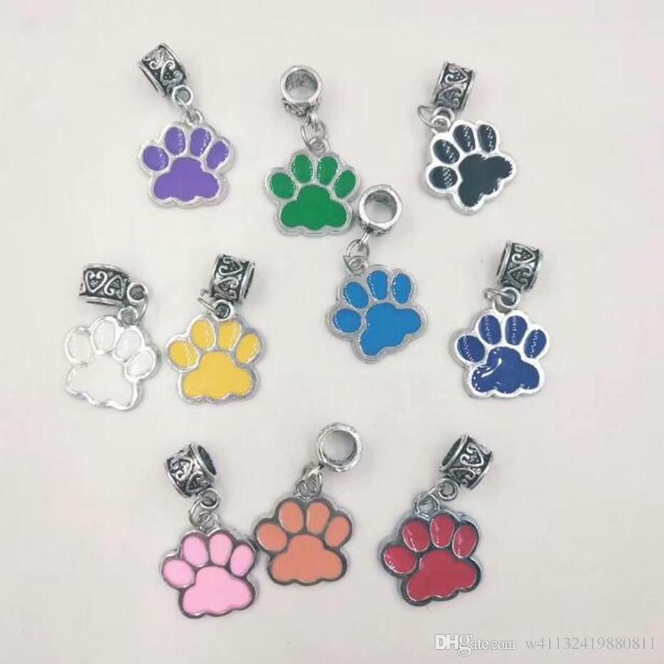 50pcs/lot Fashion jewelry Vintage Silver Drip Enamel Dog Cat Paw Prints Charm Pendants&Necklace Fit Bracelet Jewelry DIY Accessories -42