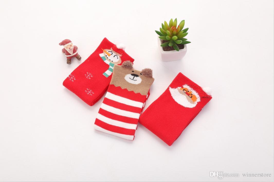 baby christmas socks long warm red cute funny stockings christmas elements jacquared comfortable breathable soft baby stockings girls knee high socks wigwam - Funny Christmas Socks