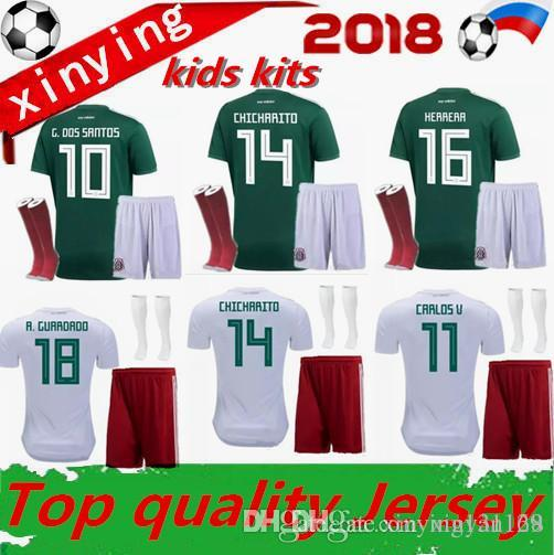 c7e2529c3 2019 Mexico BOYS 18 19 Soccer Jersey Kids Kit Home World Cup 2018 Football  Shirts CHICHARITO G.DOS SANTOS R.MARQUEZ Mexico Child KITS From Xinyan168