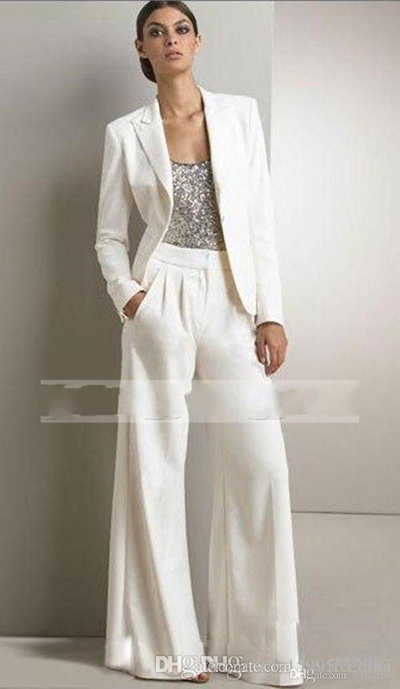 2020 جديد بلينغ الترتر العاج الأبيض سروال بذلات أم فستان العروس ملابس رسمية الشيفون البدلات الرسمية حزب جديد أزياء النساء متواضعة 2018