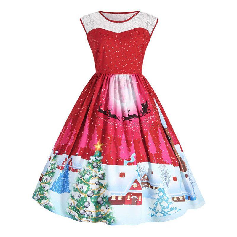 Xmas Christmas Dress Women Plus Size 5XL Party Dresses Snowman Vestidos  Tunic Elegant Vintage Rockabilly Robe Femme Midi Dresses
