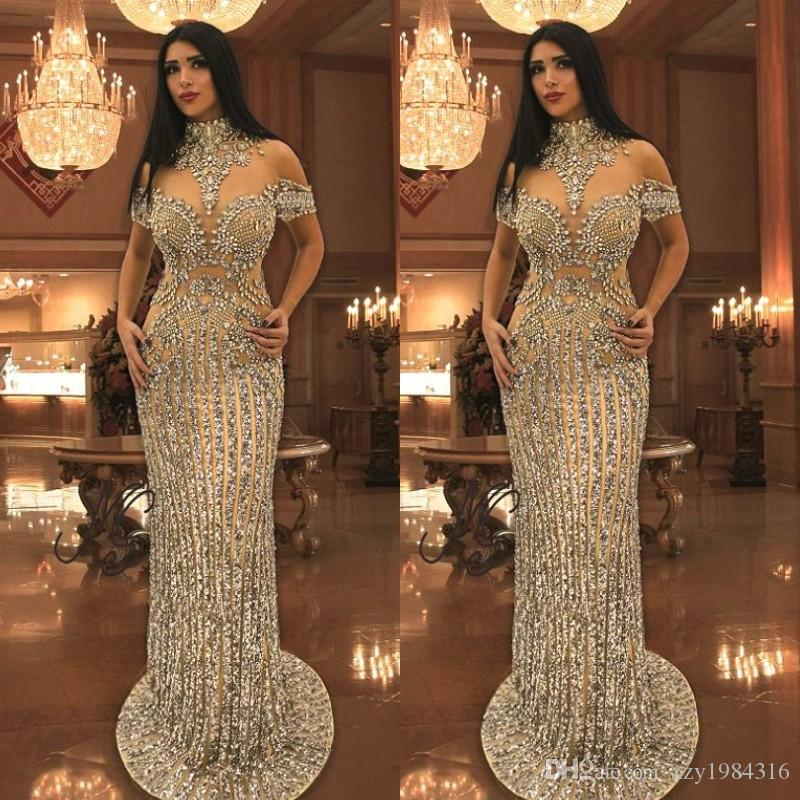 Luxurious Rhinestone Crystals Prom Dresses High Neck Beads Short Sleeve  Sparkly Mermaid Prom Dress Stunning Dubai Celebrity Evening Dresses Mermaid  Prom ... 98a10719cb9c