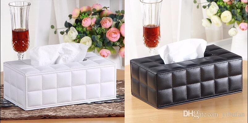 Durable Leather PU Standard Tissue Box Holder For Home Office Car Rectangular Removable Tissue boxes Container