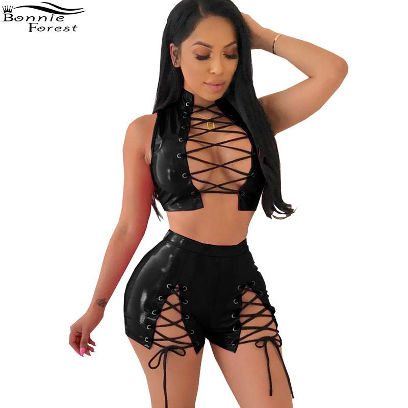 399f6881fd69 2018 Bonnie Forest Sexy Lace Up Pu Two Pieces Set Summer Women'S Solid  Color Sleeveless Bandage Shorts Two Piece Nightclub Clothing From Duanhu,  ...