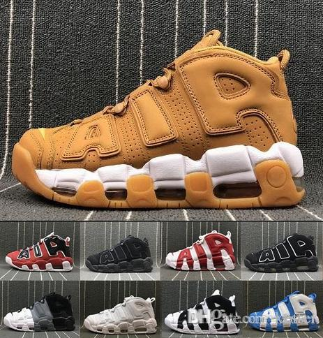 hot sale online c39d7 d3507 2018 New Air More Uptempo Mens Basketball Shoes Zapatos Scottie Pippen  Brand OLYMPIC RELEASE Bulls Gold Varsity Maroon Black Sneakers Shoe Mens  Sneakers ...