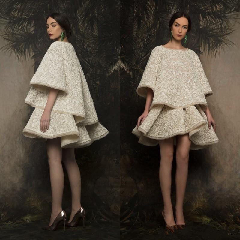 Krikor Jabotian 2019 Moda due pezzi abiti da sera Collo a barca Sexy breve vestito da promenade Abiti da cerimonia in pizzo personalizzati