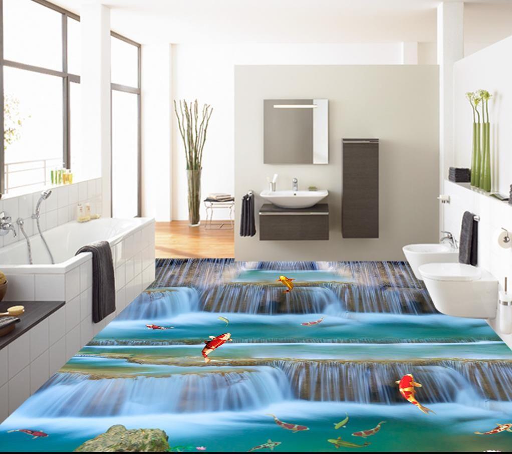 Foto Wandbilder benutzerdefinierte 3D-Bodenfliesen Landschaft für  Badezimmer 3D-Bodenbelag Klebstoff 3D-Bodenbelag wasserdicht Wandpapier